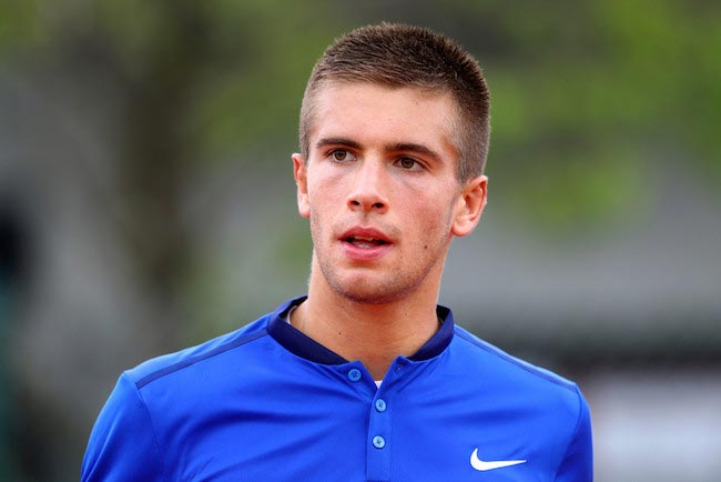 Borna Coric during a match with Taylor Fritz at 2016 French Open on May 24, 2016 in Paris, France