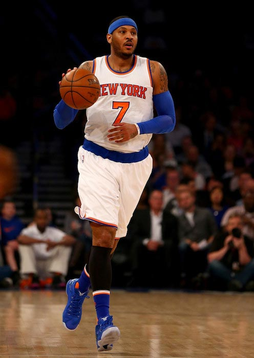 Carmelo Anthony during an NBA game against Brooklyn Nets on April 1, 2016