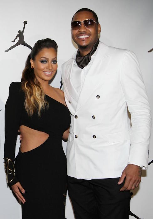 Carmelo Anthony with his wife La La Vasquez