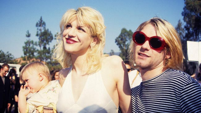 Courtney Love with her late husband Kurt Cobain and daughter Frances Bean Cobain in 1993