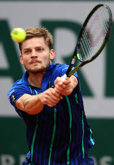 David Goffin hitting a backhand volley against Dominic Thiem at the 2016 French Open on June 2, 2016