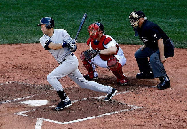 Derek Jeter hits a single against Boston Red Sox on September 28, 2014