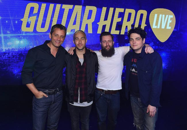 Eric Hirshberg, Pete Wentz, Jamie Jackson and Gerard Way at the revealing of All-New Guitar Hero Live game in April 2015