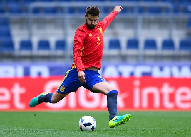 Gerard Pique in action during a friendly match between Spain and Korea on June 1, 2016 in Salzburg, Austria
