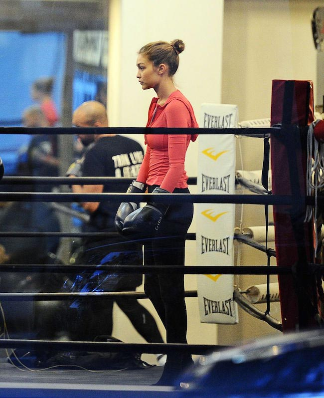 Gigi Hadid at a boxing class in New York in November 2015