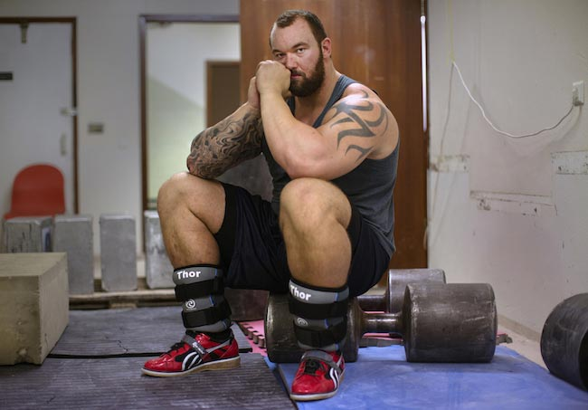 Hafthor Julius Bjornsson in the gym