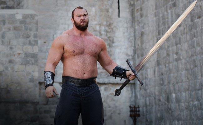 Hafthor Julius Bjornsson with his sword