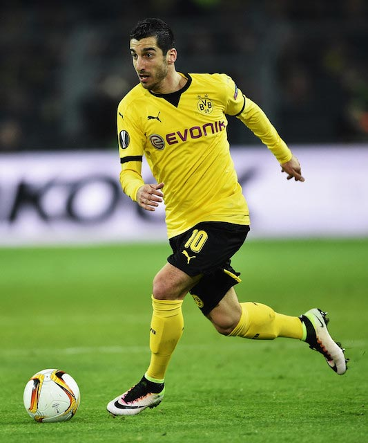 Henrikh Mkhitaryan during the UEFA Europa League quarter final against Liverpool on April 7, 2016