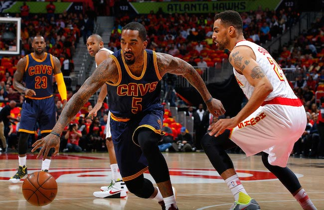 J. R. Smith in action in a game of 3 of the Eastern Conference Semifinals during the 2016 NBA Playoffs against Atlanta Hawks
