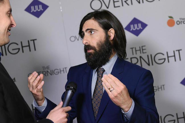 "Jason Schwartzman talking with media during the New York premiere of ""The Overnight"" on June 18, 2015"