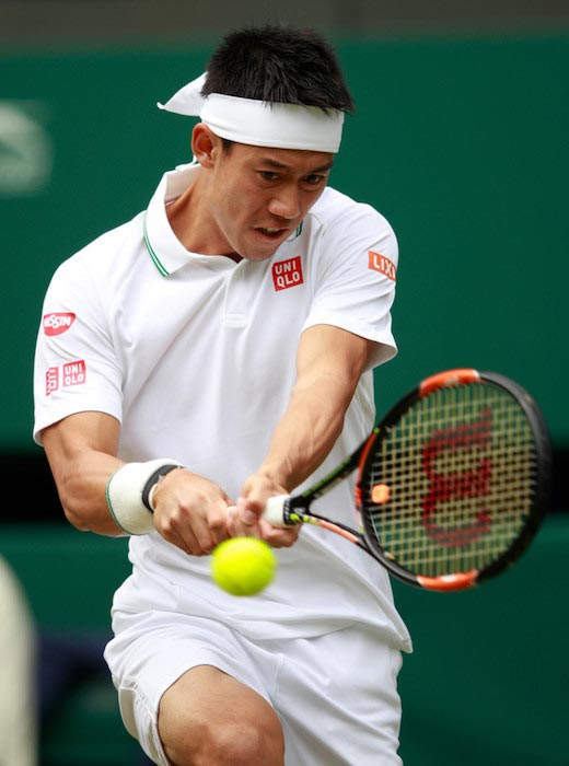 Kei Nishikori during a match against Julien Benneteau at 2016 Wimbledon on June 30, 2016 in London, England