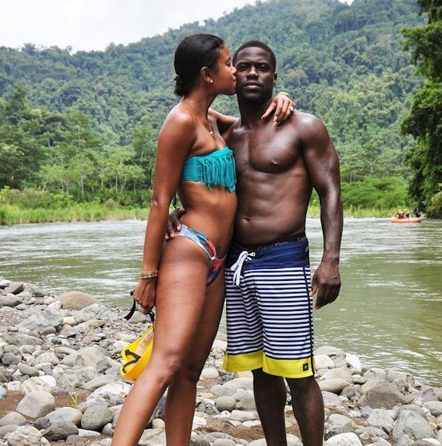 Kevin Hart enjoying his time with bikini girl