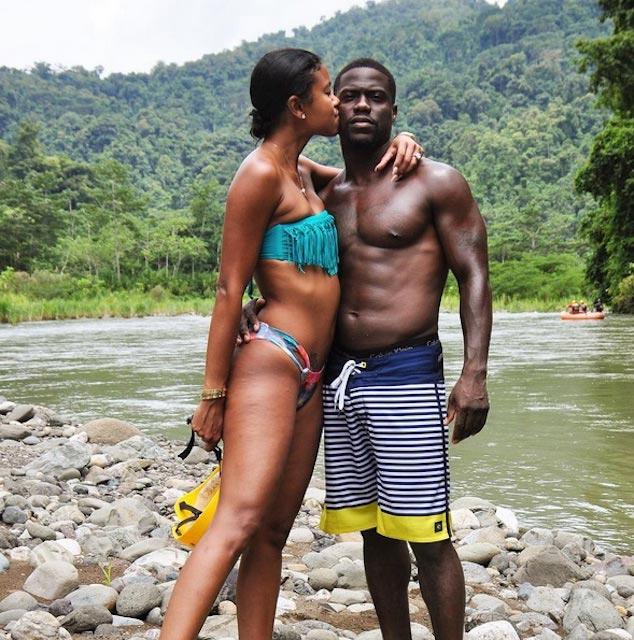 Kevin Hart enjoying his time with bikini girl