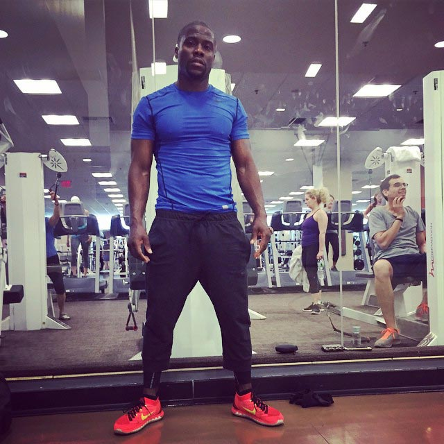 Kevin Hart in his workout gear at gym