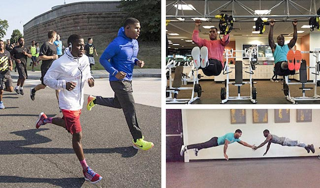 Kevin Hart working out with personal trainer