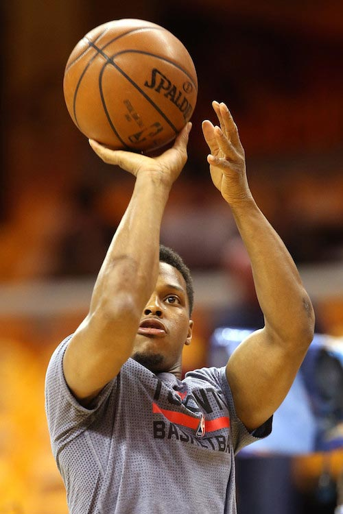 Kyle Lowry shooting the ball during warm up before game one of the 2016 NBA Eastern Conference Finals against Cleveland Cavaliers