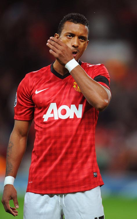 Luis Nani during a UEFA Champions League match between Manchester United and Galatasaray on September 19, 2012