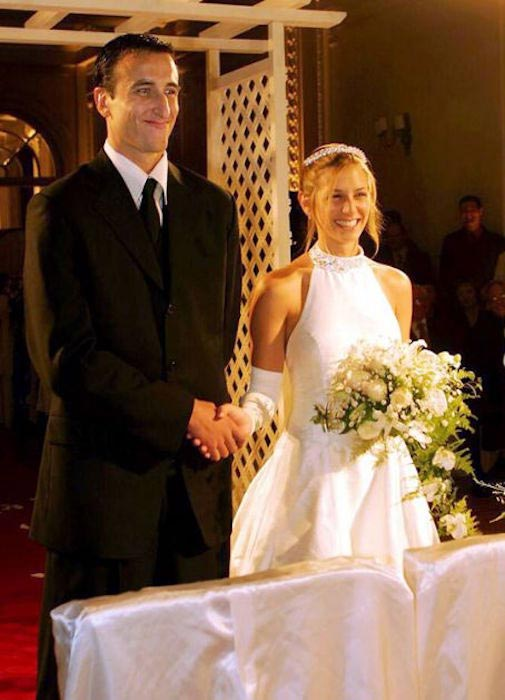 Manu Ginobili and Marianela Orono on their wedding day in 2004