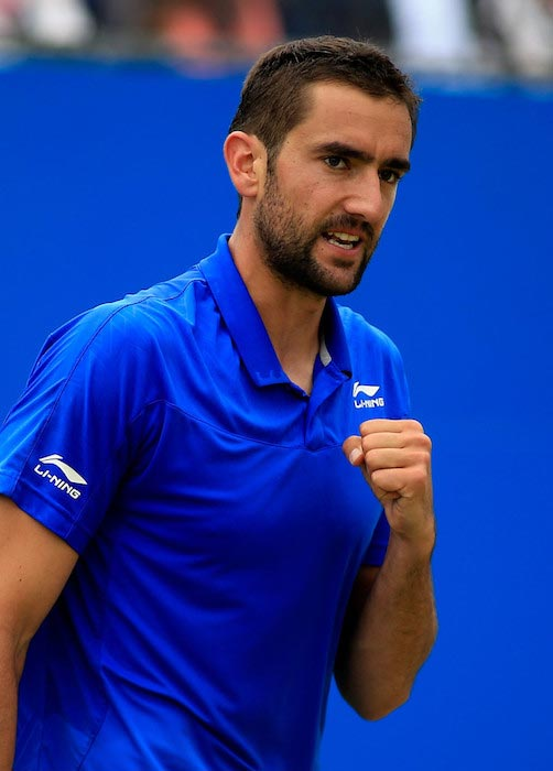 Marin Cilic during a match against Andy Murray at Aegon Championships on June 18, 2016 in London, England