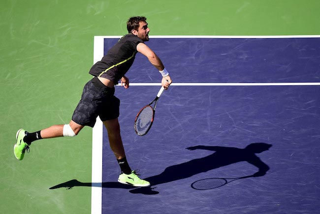 Marin Cilic serves in a match versus Richard Gasquet at Indian Wells on March 16, 2016 in California