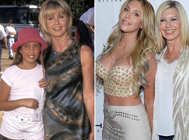 Olivia Newton-John and daughter Chloe Lattanzi over the years