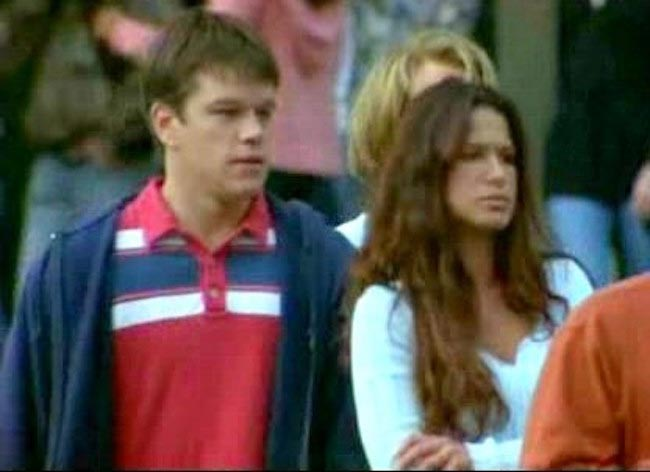 "Rhona Mitra and Matt Damon in a shot from the 2003 movie ""Stuck on You."""