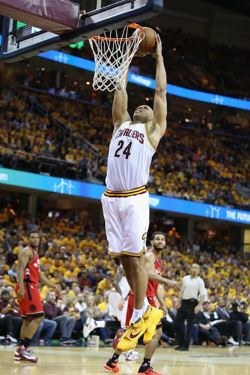 Richard Jefferson dunking the ball against Toronto Raptors during 2016 NBA Playoffs on May 19, 2016