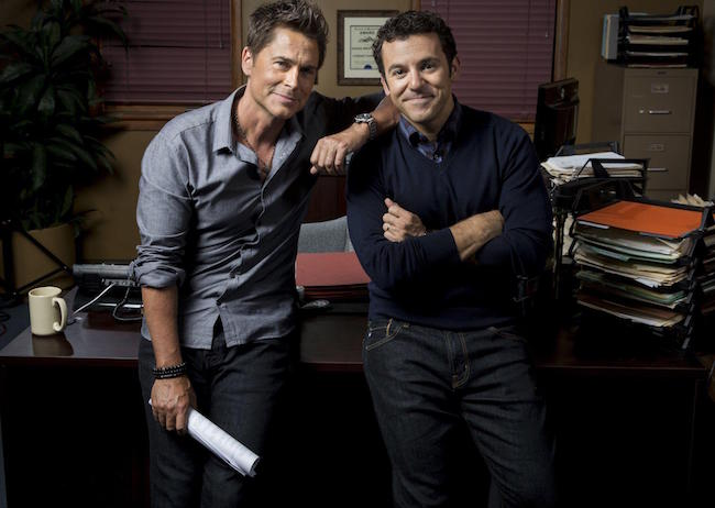 """Rob Lowe on the set of """"The Grinder"""""""