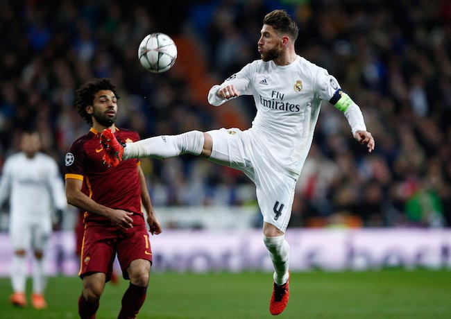 Sergio Ramos in duel with Mohamed Salah during a game between Real Madrid and Roma on March 8, 2016