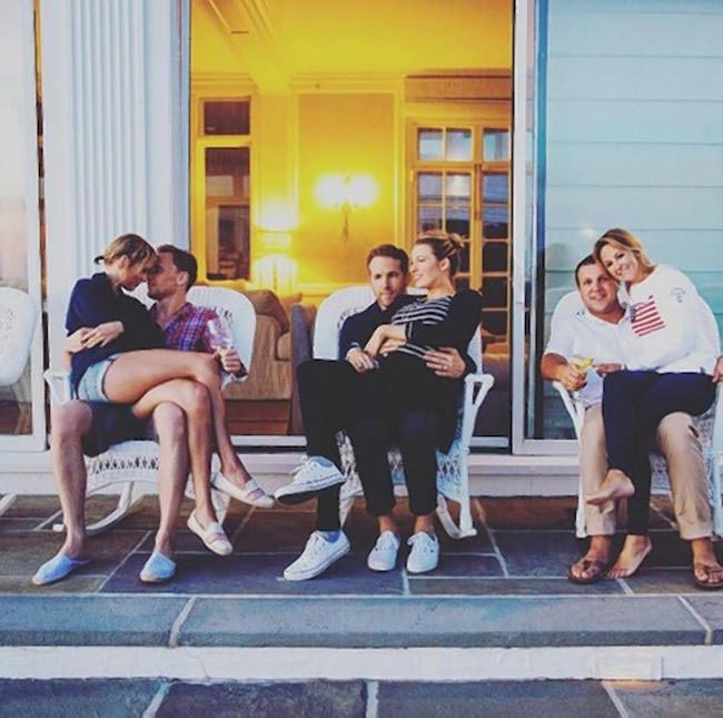 Taylor Swift, Tom Hiddleston, Blake Lively, Ryan Reynolds, and Britany and Ben LaManna at 4th of July party of Taylor Swift