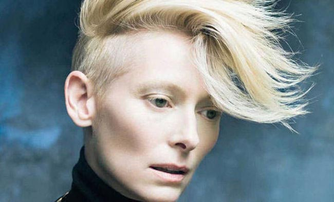 Tilda Swinton in one of her modeling photo shoots in 2015