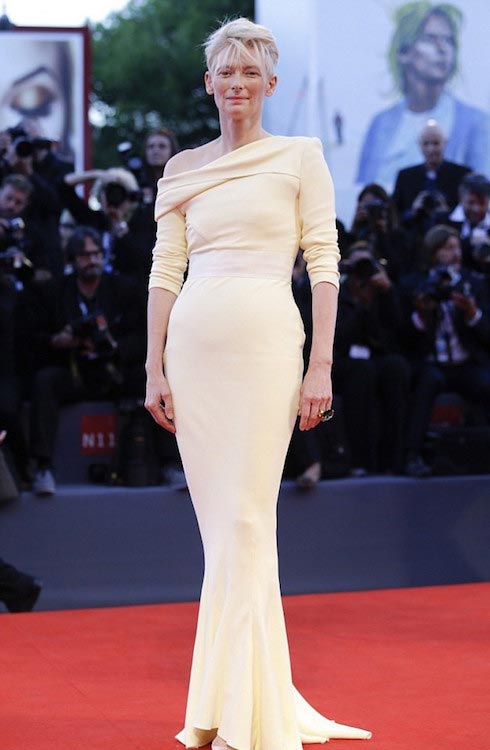 Tilda Swinton at the premier of 'A Bigger Splash' at the Venice Film Festival in September 2015