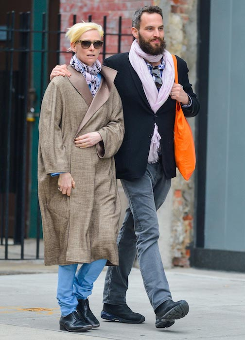 Tilda Swinton with Sandro Kopp in New York City in April 2013
