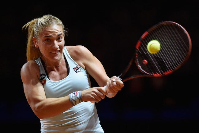 Timea Babos plays backhand during a match against Sabine Lisicki on April 18, 2016 in Stuttgart, Germany