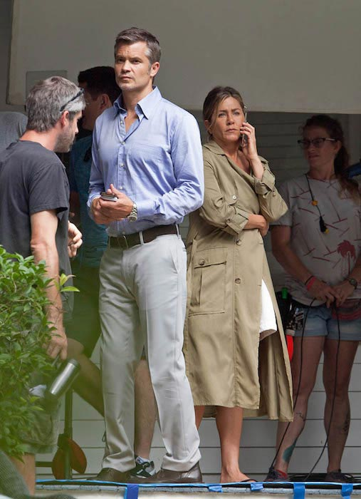 Timothy Olyphant with Jennifer Aniston on the set of Mother's Day