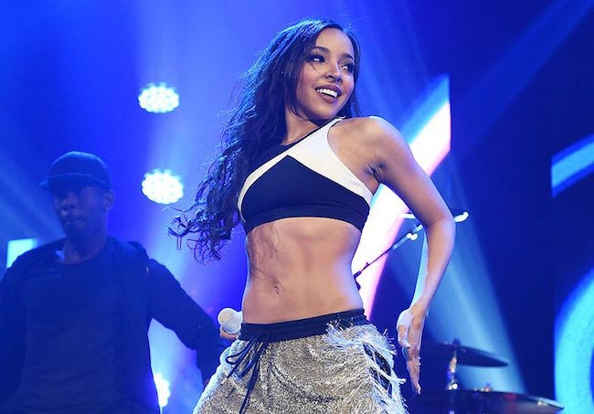 Tinashe performing at Z100's Jingle Ball 2015 in New York City