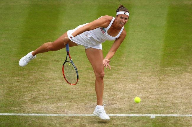 Yaroslava Shvedova during a match against Venus Williams at Wimbledon on July 5, 2016 in London