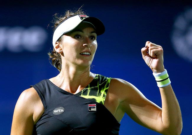 Yaroslava Shvedova in a match against Roberta Vinci during WTA Dubai Duty Free Tennis Tournament on February 16, 2016