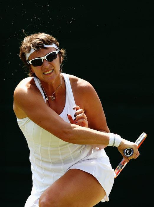 Yaroslava Shvedova during a match against Sabine Lisicki during Wimbledon on July 1, 2014 in London