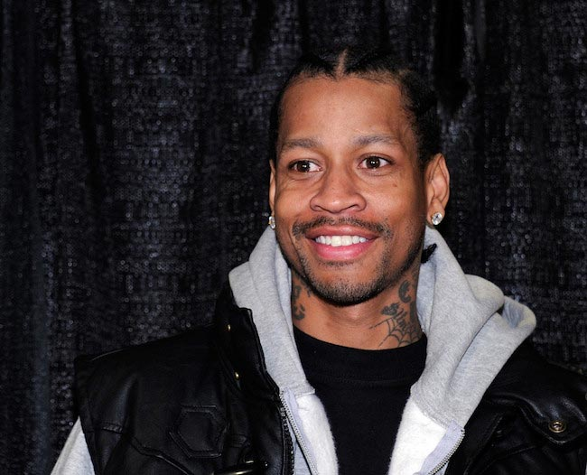 Allen Iverson during a news conference at the Thomas & Mack Center in Las Vegas, Nevada