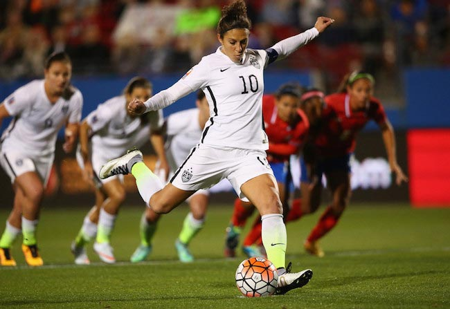 Carli Lloyd takes a penalty kick against Costa Rica on February 10, 2016 during Women's Olympic Qualifying tournament