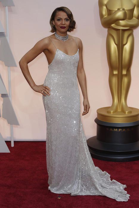 Carmen Ejogo sizzles in a dress from Houghton Bride's Spring / Summer 2015 Collection at Oscars 2015