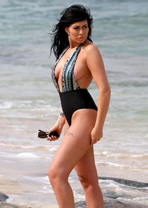 Chloe Ferry in swimsuit at a beach in Cape Verde on May 29, 2016