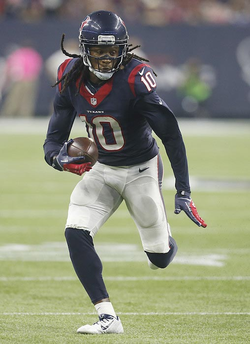 DeAndre Hopkins in action with the ball during a match between Houston Texans and Indianapolis Colts on October 8, 2015