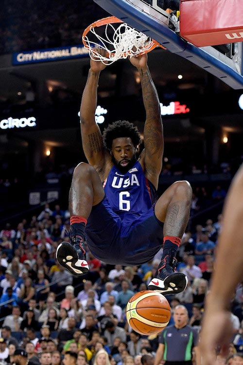 DeAndre Jordan dunks the ball against China on July 26, 2016 in Oakland
