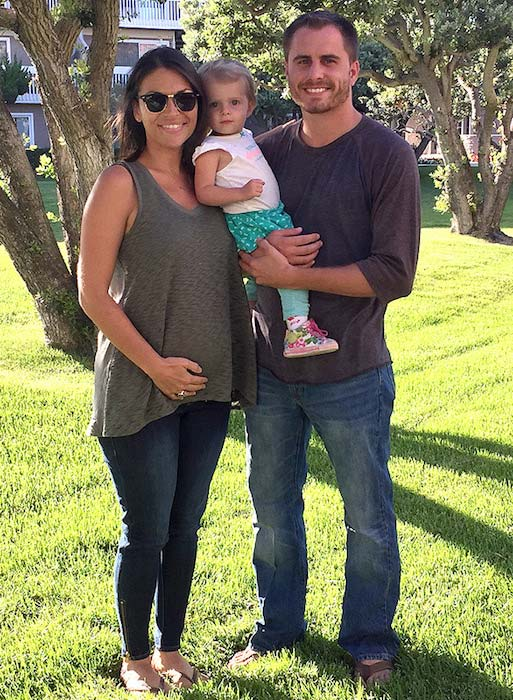 Deanna Pappas Stagliano during second pregnancy with her husband and daughter