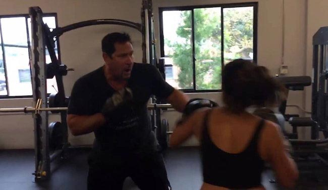 Gina Rodriguez boxing with trainer