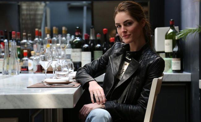 Hilary Rhoda in a restaurant
