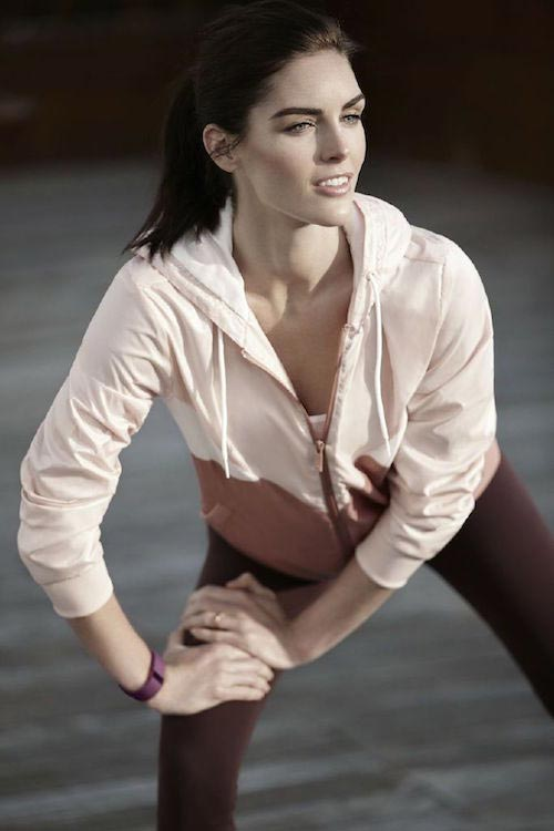 Hilary Rhoda working out her legs