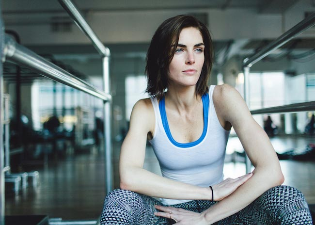 Hilary Rhoda in her workout gear